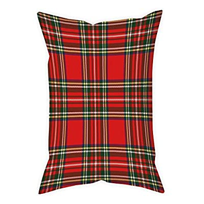 iPrint Microfiber Throw Pillow Cushion Cover,Red Plaid,European Western Culture Inspired Abstract Tartan Motif Vintage Classical Design Decorative,Multicolor,Decorative Square Accent Pillow Case