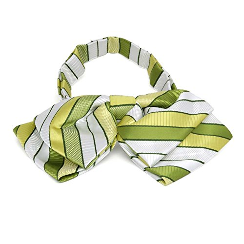 (TieMart Asparagus Green Douglas Stripe Floppy Bow Tie)