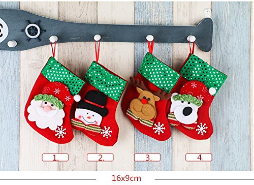 TKSTAR 4Pack Christmas Stocking Xmas Decor Socks New Year Holiday  Decoration Snowman Christmas Ornaments Decorations Gift Bag Socks for  Christmas Tree
