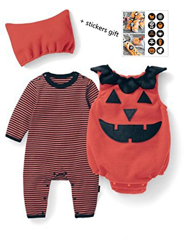 Tkiames Unisex Baby Boys Girls Halloween Pumpkin Costume Romper Jumpsuit Outfit 5pcs Sets