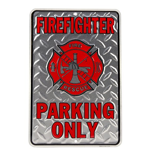 Firefighter Parking Only Embossed Diamond Plate Tin Sign - Fire Dept Tin Sign