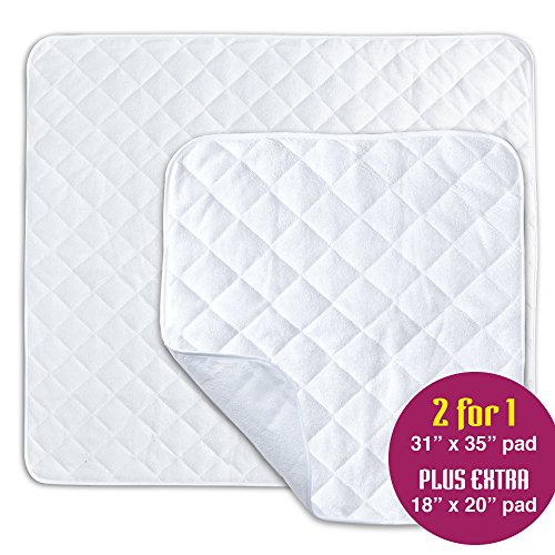 "2 Pack Waterproof Incontinence Bed Pads - Mattress and Chair Protective Covers - Non Slip, Breathable, Terry Cloth - Baby, Bed Wetting, Elderly, Dogs – 31"" x 35"" and 18"" x 20"" - by X-Preferred"