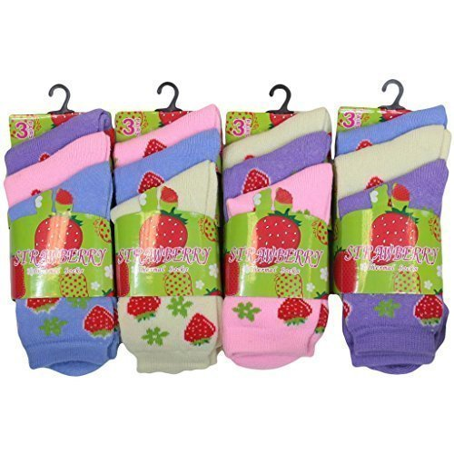 12pairs Girls Winter Warm Chunky Thermal Socks Strawberry Pattern Design Outdoor Play Snow Socks