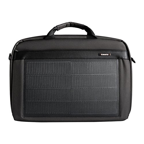 HANERGY Thin Film Solar Powered 8W Laptop Computer Case Electronics Business Shoulder Bag Notebook MacBook iPad Protective Case with Handle & Accessory Pocket (Black)
