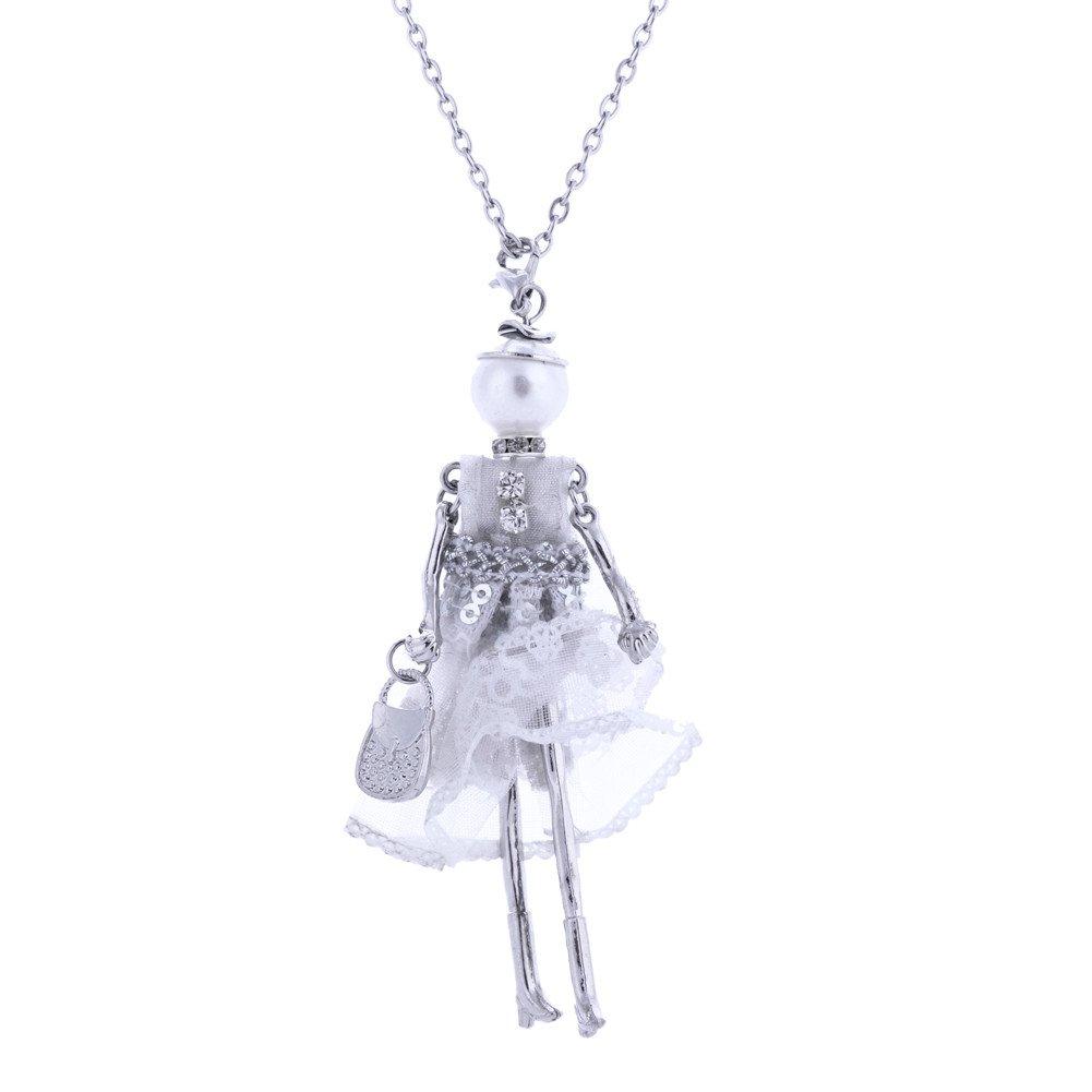 Lureme Handmade Cute Little Girl Dress Doll with HandBag Necklace Keytag (nl005748) Yida nl005748-3