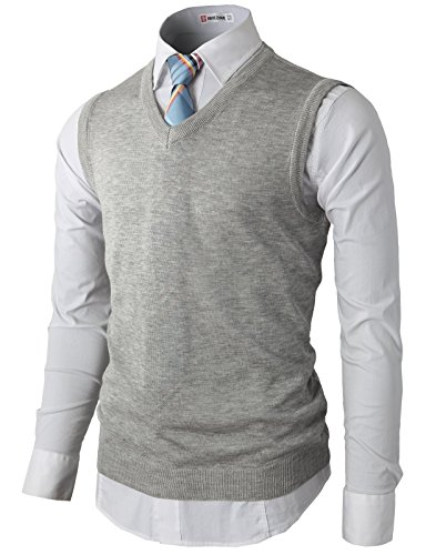 H2H Men's Value V-Neck Sweater Vest GRAY US M/Asia L (KMOV050)
