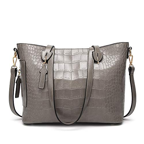 Pattern Crocodile Handbag Tote (Cawmixy Satchel Women Shoulder Bags Classic Tote Ladies Designer Hobo Crocodile pattern Purses Woman Top Handle Bag (B Grey))