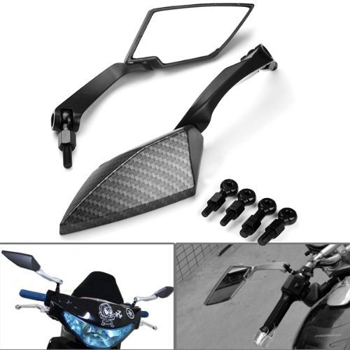 Universal Carbon Fiber Color Fit Bolts Motorcycle Housing Diamond Blade Style Side Rearview Mirrors For Harley Davidson Cruiser Chopper Suzuki Honda Kawasaki Yamaha BMW Scooter Vesp - Fiber Colors Carbon