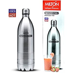 Milton Thermosteel Duo 750 DLX, Steel Plain & Thermosteel Duo Deluxe 750 Bottle Style Flask, 700 ml, Red Combo