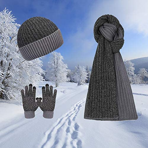 3 Pieces Winter Hat Scarf Gloves Set For Mens Outdoor Driving Sking Fishing Gift