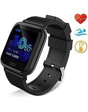 Huyeta Reloj Inteligente Impermeable IP67 Smartwatch Pantalla Táctil Completa Pulsera de Actividad Mujer Hombre Niño Reloj Deportivo a Prueba de Podómetro Monitor de Sueño para iOS Android