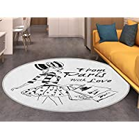Paris Round Area Rug Carpet From Paris with Love Fashion Hand Drawn Girl Figure Shopping Polka Dot Design Skirt Living Dining Room Bedroom Hallway Office Carpet Black White