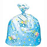 Jumbo Plastic Blue Polka Dot Baby Shower Gift Bag