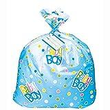 Jumbo Plastic Blue Polka Dot Boy Baby Shower Gift Bag