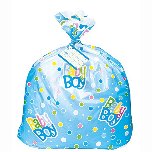 Large Baby Gift Bag (Jumbo Plastic Blue Polka Dot Boy Baby Shower Gift)