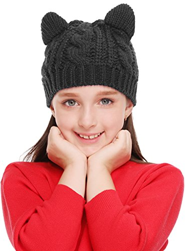 Bellady Kids Girls Cable Knit Children's Winter Hat Beanie with Cat Ear, Black_child