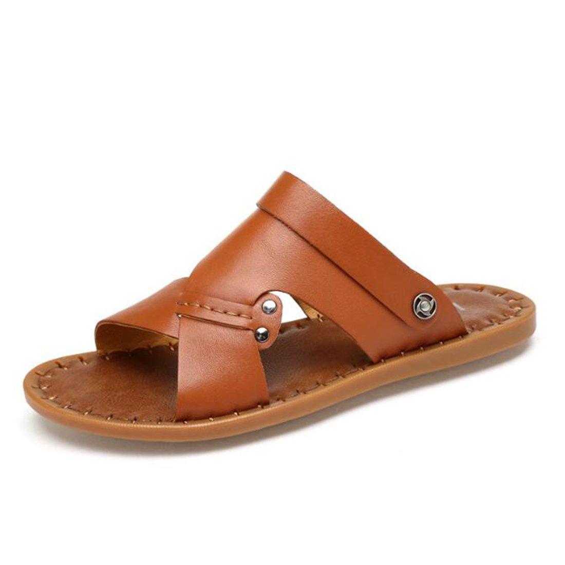ZHONGST Sandalias De Cuero De Verano Para Hombres Zapatos De Playa Casuales Sandalias Hechas A Mano,Brown,43 Brown