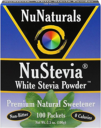 NuNaturals - NuStevia White Stevia Powder - 100 Packets - Pack of 4 ()