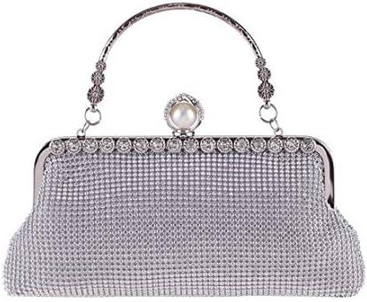 ラインストーントート、ディナーバッグファッションスクエアバッグ、クールダイヤモンドウォレット、20 * 13 * 2 Cm(カラー:ホワイト) 美しいファッション (Color : White)