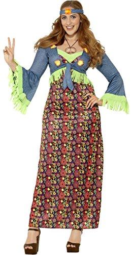 (Ladies Plus Size Maxi Hippy Hippie 60s 70s 1960s 1970s Decades Fancy Dress Costume Outfit UK 16-28 (UK 24-26))