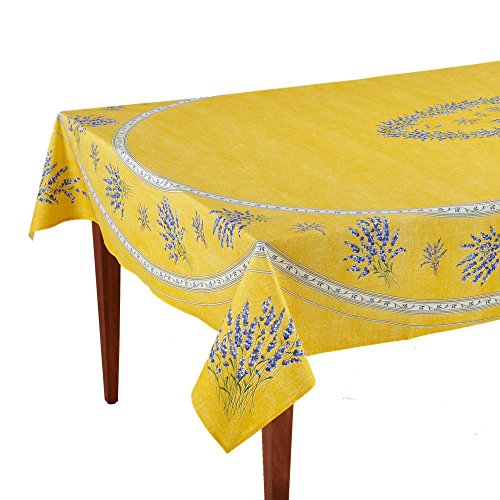 Occitan Imports Valensole Jaune Rectangular French Tablecloth, Coated Cotton, 63 x 98 (6-8 people)