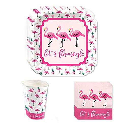 (Big Dot of Happiness Pink Flamingo - Party Like a Pineapple - Tropical Summer Tableware Plates, Cups, Napkins - Bundle for 16)