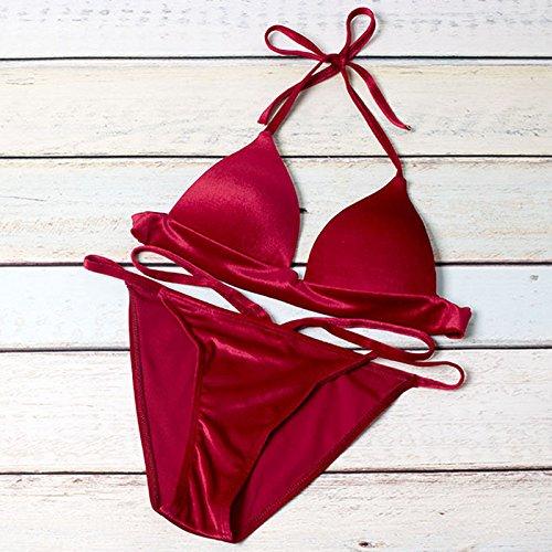 zooarts® 2017Pure rojo verano mujeres acolchado Push up Set traje de baño bañadores Bañador, poliéster, Rojo, large