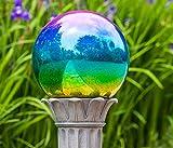 10 inch Glass Gazing Ball Polished Metallic Green/Purple Gazing Ball
