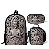 Lunch Bags,Asian Decor,Antique Sculpture in Traditional Thai Art Swirling Floral Patterns Carving Japanese Decor,Bronze,Print,Two Piece Set