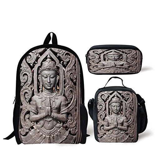 Lunch Bags,Asian Decor,Antique Sculpture in Traditional Thai Art Swirling Floral Patterns Carving Japanese Decor,Bronze,Print,Two Piece Set by iPrint