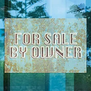 for Sale by Owner CGSignLab 27x18 Ghost Aged Blue Window Cling 5-Pack