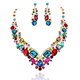 SP Sophia Collection Women's Wedding Bridal Austrian Crystal Necklace and Earrings Jewelry Set in Multi