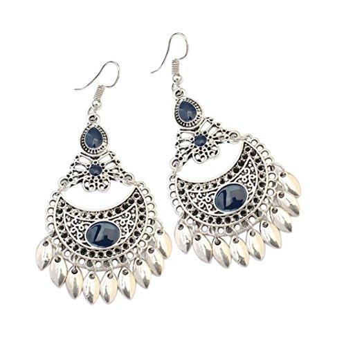 Hot Sale! Paymenow Women Girls Drop Earrings Fashion Bohemian Hollow Out Crescent Leaf Eardrop Dangle Jewelry (E) Earing Bangle