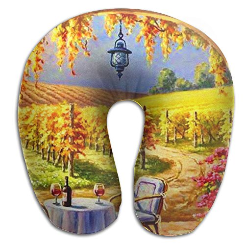 CY STORE Sunny Vineyard Vine Yard Painting Mountains Art Chairs U Type Pillow Memory Foam Neck Pillow Relex Pollow Travel Pillow Relief Neck Pain