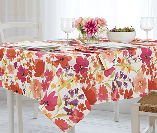 Elrene Home Fashions 39318MLT Vinyl Tablecloth with Polyester Flannel Backing Floral Gardens Easy Care Spillproof, ()