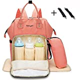 Baby Diaper Bag Mummy Backpack Multi-Function Traveling Backpack Purse Large Capacity Waterproof Nursing Bag Mummy Maternity Nappy Changing Handbag Organizer Insert with Stroller Straps Insulated Pockets Wipeable Changing Pad for Men Women (Pink)