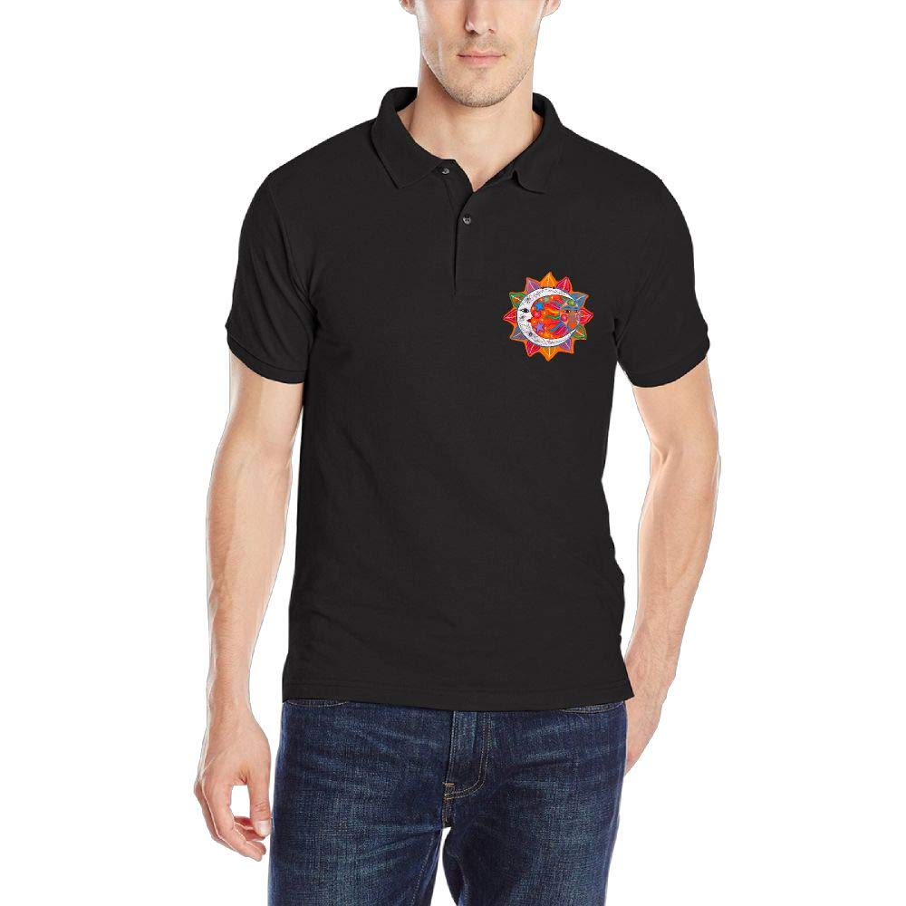 Mexican Sun and Moon Mens Short Sleeve Polo Shirt Classic-Fit Blouse Sport Tee