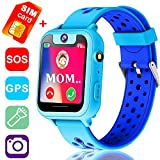 Kids Smart Watch Phone with Free SIM Card, 1.54'' Girls Boys GPS Tracker SOS Camera Game Alarm Wearable Touch Bracelet Wrist Watch School Birthday Holiday Travel Camping Gifts (Blue)