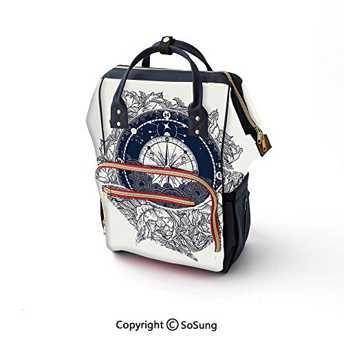 (Adventure Diaper Backpack,Antique Marine Compass and Floral Whale Figure Mystical Victorian Vintage Decorative Multi-Function Travel Backpack,16.5x10.6x6.7inch,Dark Blue White)