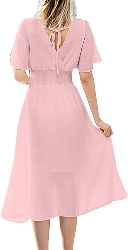 AIFGR Falda de señora Damas Vestido Largo de Manga Corta con Cuello en V y Fiesta Vestido de cóctel de Bodas por la Noche(Rosa, XXL): Amazon.es: Ropa y accesorios