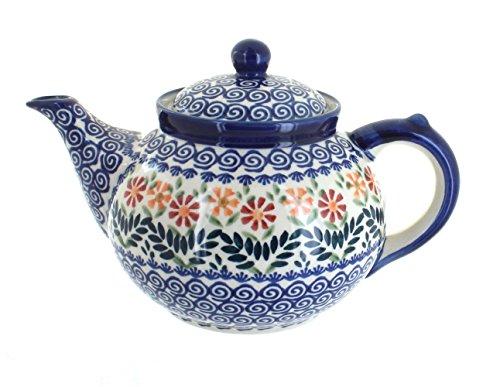 Blue Rose Polish Pottery Garden Bouquet Teapot ()