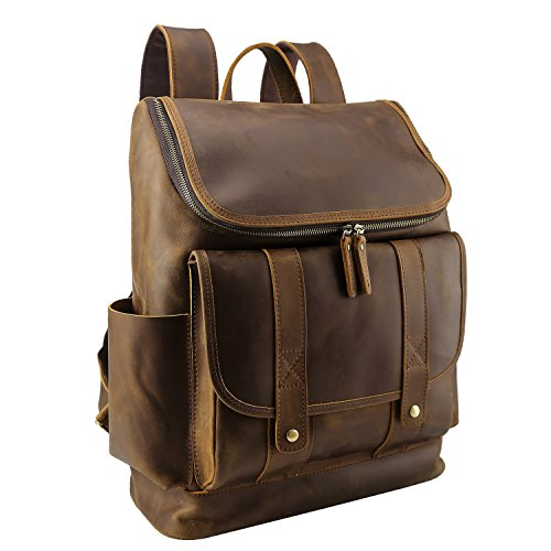 Texbo Vintage Full Grain Cowhide Leather Laptop Backpack Bag Fit 15.6 Inch Laptop (Cowhide Computer Case)