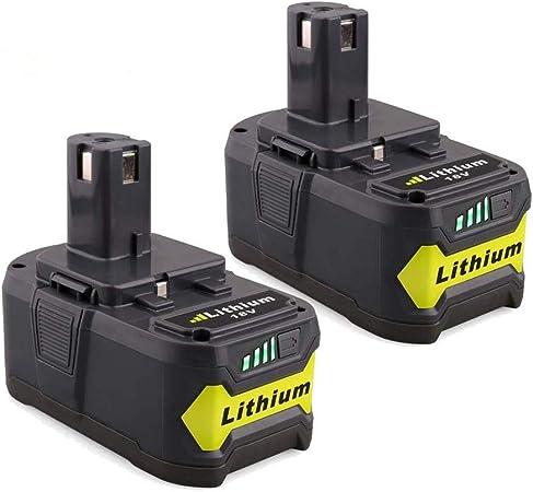 P108 2X FUNMALL 5.0Ah Li-Ion Batterie de Remplacement pour Ryobi 18V ONE