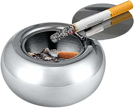 Windproof Ashtray with Lid Newness Stainless Steel Modern Tabletop Ashtray for Outdoor or Indoor Use Desktop Smoking Ash Tray for Home Office Decoration