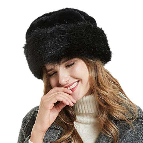 Soul Young Women's Leopard Faux Fur Hat with Fleece and Elastic for Winter(One Size,Black) ()