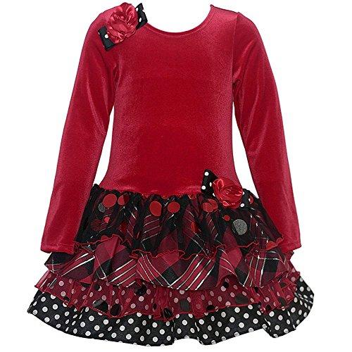 Little Girls 2T-6X Red/Black Stretch Velvet to Sparkle Tier Drop Waist Dress (2T, Red)