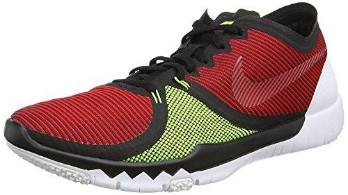 Nike Mens Free Trainer 3.0 V4 Training Shoe, Negro/University Rojo/Volt, 47.5 unknown EU/12.5 unknown UK