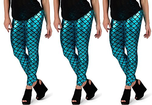 Sassy Mermaid Leggings (L, Turquoise)