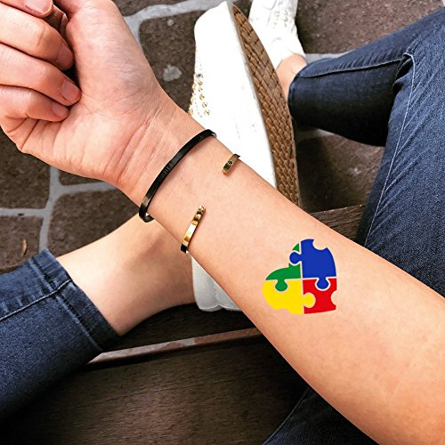 Autism Temporary Fake Tattoo Sticker (Set of 2) - www.ohmytat.com