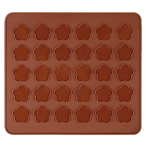 Allforhome 30 Tray Cherry Flower Silicone Macarons Mat Moulds Homemade Pastry Macaroon Cookie Sheet Baking Mat Molds